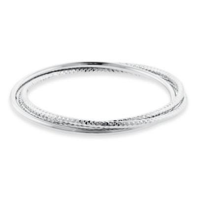 Sterling Silver Polished and Diamond-Cut Triple Slip-On Ladies' Bangle Bracelet