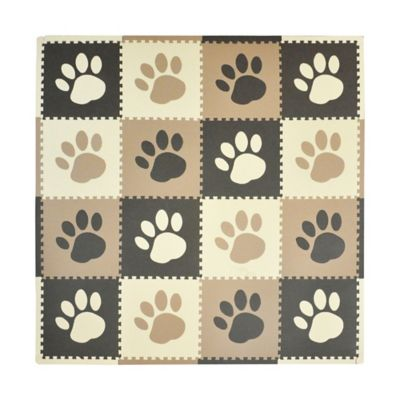 Tadpoles Paw Print Play Mat in Taupe/Brown