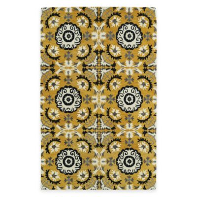 Kaleen Global Inspirations Floral Tile 5-Foot x 7-Foot 9-Inch Area Rug in Turquoise