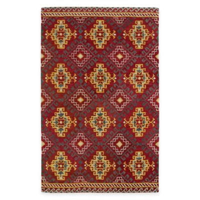 Kaleen Global Inspirations Diamond 3-Foot 6-Inch x 5-Foot 6-Inch Area Rug in Red