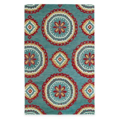 Kaleen Global Inspirations Medallion 5-Foot x 7-Foot 9-Inch Area Rug in Teal