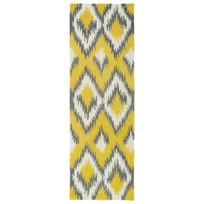 Kaleen Global Inspirations Ikat 2-Foot 6-Inch x 8-Foot Runner in Yellow