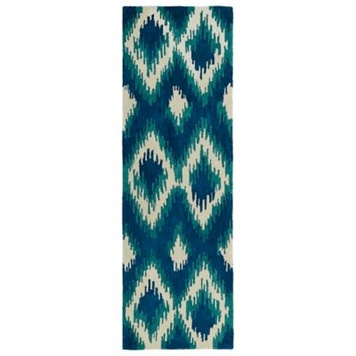 Kaleen Global Inspirations Ikat 2-Foot 6-Inch x 8-Foot Runner in Blue