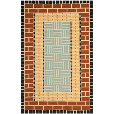 Safavieh Four Seasons Brick 5-Foot x 8-Foot Indoor/Outdoor Area Rug in Brown/Blue