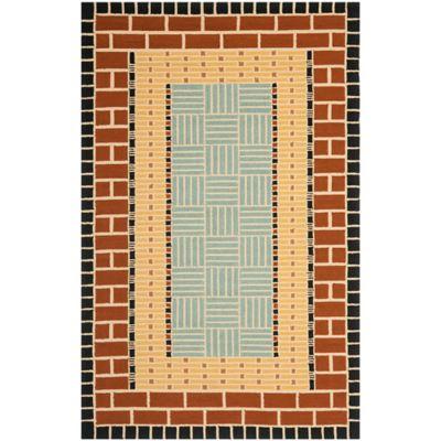 Safavieh Four Seasons Brick 8-Foot x 10-Foot Indoor/Outdoor Area Rug in Brown/Blue