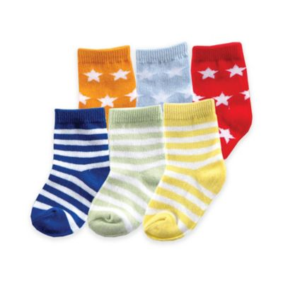 BabyVision® Luvable Friends® Size 12-24M 6-Pack Fun Stripe Combo Socks