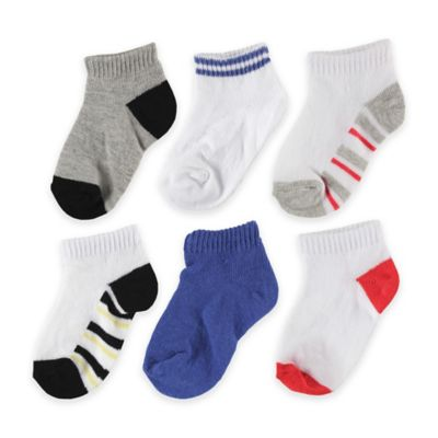 BabyVision® Luvable Friends® Size 12-24M 6-Pack No Show Striped Socks