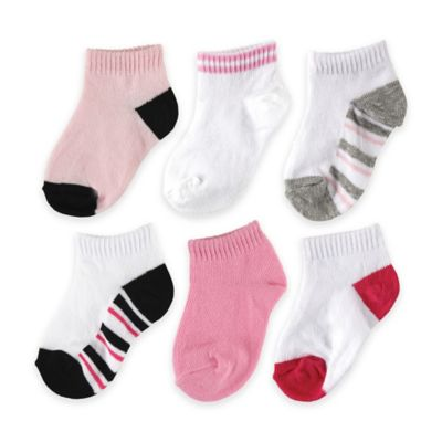 BabyVision® Luvable Friends® Size 0-6M 6-Pack No Show Striped Socks