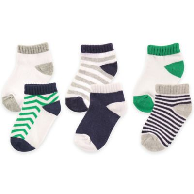 BabyVision® Luvable Friends® Size 12-24M 6-Pack No Show Socks in Blue
