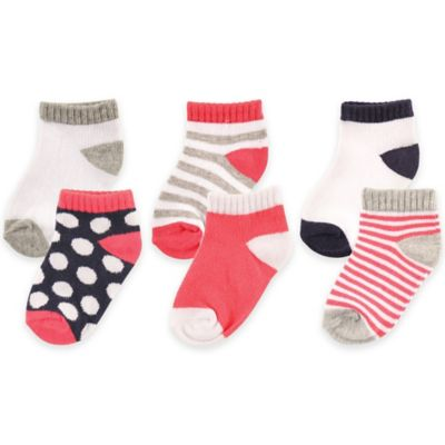 BabyVision® Luvable Friends® Size 6-12M 6-Pack No-Show Socks in Pink