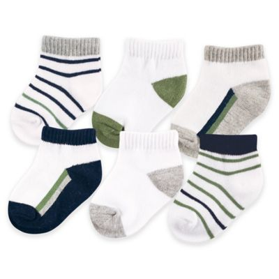 BabyVision® Yoga Sprout™ Size 0-6M 6-Pack No Show Socks in Olive/Navy