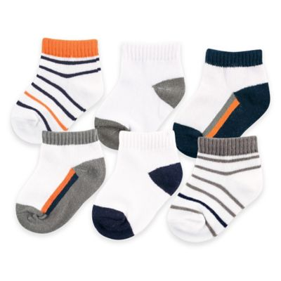 BabyVision® Yoga Sprout™ Size 0-6M 6-Pack No Show Ankle Socks in Navy/Orange