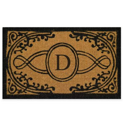 """Nature by Geo Crafts Bristol 18-Inch x 30-Inch Monogrammed Letter """"D"""" Doormat in Natural Black"""