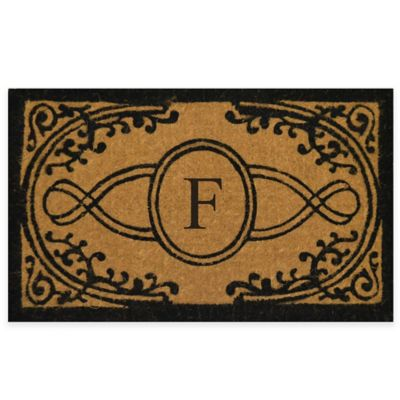 """Nature by Geo Crafts Bristol 18-Inch x 30-Inch Monogrammed Letter """"F"""" Doormat in Natural Black"""
