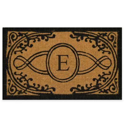 "Nature by Geo Crafts Bristol 18-Inch x 30-Inch Monogrammed Letter ""E"" Doormat in Natural Black"