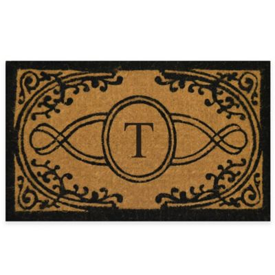 """Nature by Geo Crafts Bristol 18-Inch x 30-Inch Monogrammed Letter """"T"""" Doormat in Natural Black"""