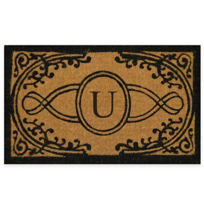 "Nature by Geo Crafts Bristol 18-Inch x 30-Inch Monogrammed Letter ""U"" Doormat in Natural Black"