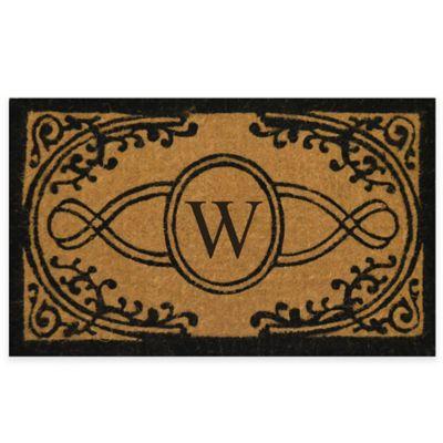 "Bristol 18-Inch x 30-Inch Monogrammed Letter ""W"" Doormat in Natural Black"
