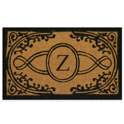 "Bristol 18-Inch x 30-Inch Monogrammed Letter ""Z"" Doormat in Natural Black"