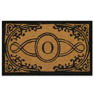 "Bristol 18-Inch x 30-Inch Monogrammed Letter ""O"" Doormat in Natural Black"