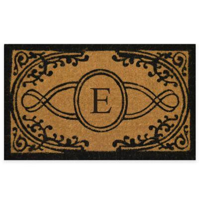 "Bristol 22-Inch x 36-Inch Monogrammed Letter ""E"" Doormat in Natural Black"
