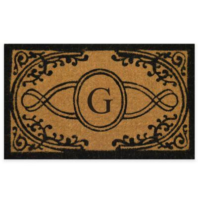 "Bristol 22-Inch x 36-Inch Monogrammed Letter ""G"" Doormat in Natural Black"
