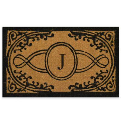 "Bristol 22-Inch x 36-Inch Monogrammed Letter ""J"" Doormat in Natural Black"