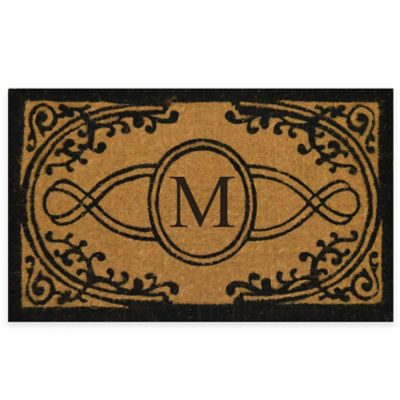 "Nature by Geo Crafts Bristol 22-Inch x 36-Inch Monogrammed Letter ""M"" Doormat in Natural Black"