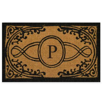 "Bristol 22-Inch x 36-Inch Monogrammed Letter ""P"" Doormat in Natural Black"