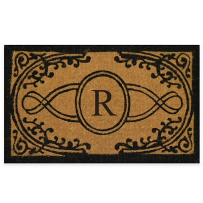 "Nature by Geo Crafts Bristol 22-Inch x 36-Inch Monogrammed Letter ""R"" Doormat in Natural Black"
