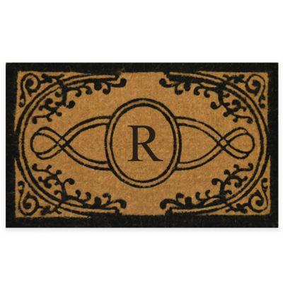 "Bristol 22-Inch x 36-Inch Monogrammed Letter ""R"" Doormat in Natural Black"