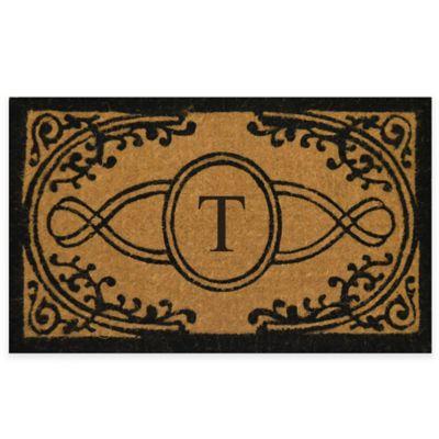 "Bristol 22-Inch x 36-Inch Monogrammed Letter ""T"" Doormat in Natural Black"
