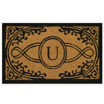 "Nature by Geo Crafts Bristol 22-Inch x 36-Inch Monogrammed Letter ""U"" Doormat in Natural Black"