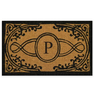 "Nature by Geo Crafts Bristol 30-Inch x 48-Inch Monogrammed Letter ""P"" Door Mat in Natural Black"