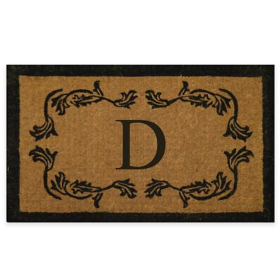 "Leaf Bordered 18-Inch x 30-Inch Monogrammed Letter ""D"" Door Mat in Natural Black"