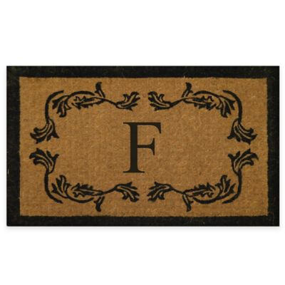 "Leaf Bordered 18-Inch x 30-Inch Monogrammed Letter ""F"" Door Mat in Natural Black"