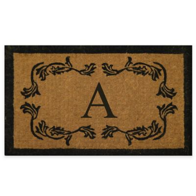 "Leaf Bordered 18-Inch x 30-Inch Monogrammed Letter ""A"" Door Mat in Natural Black"
