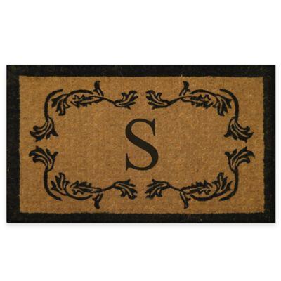 "Leaf Bordered 18-Inch x 30-Inch Monogrammed Letter ""S"" Door Mat in Natural Black"