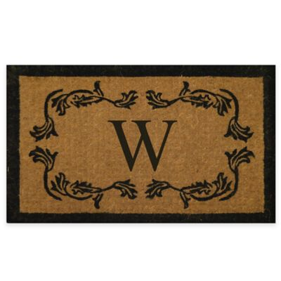 "Leaf Bordered 18-Inch x 30-Inch Monogrammed Letter ""W"" Door Mat in Natural Black"