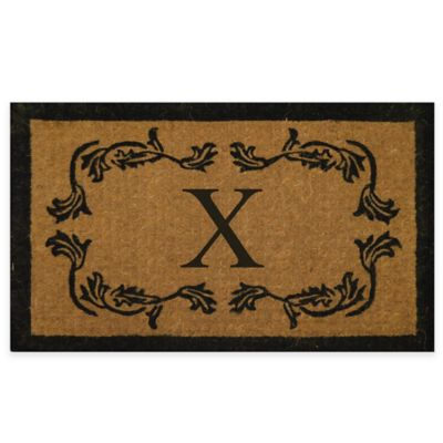"Leaf Bordered 18-Inch x 30-Inch Monogrammed Letter ""X"" Door Mat in Natural Black"