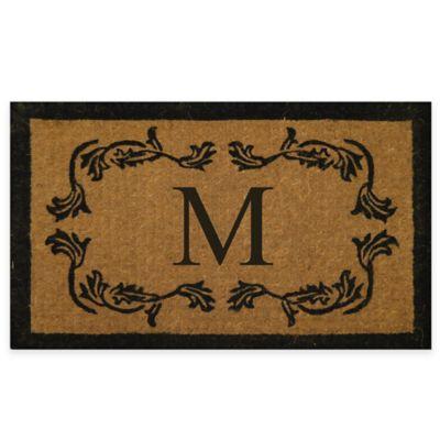 "Leaf Bordered 18-Inch x 30-Inch Monogrammed Letter ""M"" Door Mat in Natural Black"