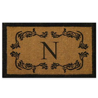"""Leaf Bordered 18-Inch x 30-Inch Monogrammed Letter """"N"""" Door Mat in Natural Black"""
