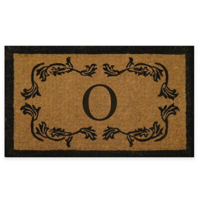 "Leaf Bordered 18-Inch x 30-Inch Monogrammed Letter ""O"" Door Mat in Natural Black"