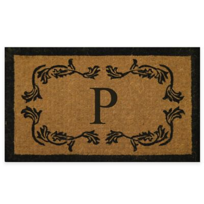 "Leaf Bordered 18-Inch x 30-Inch Monogrammed Letter ""P"" Door Mat in Natural Black"