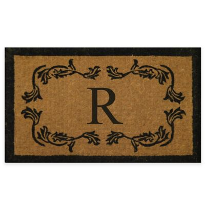 "Leaf Bordered 18-Inch x 30-Inch Monogrammed Letter ""R"" Door Mat in Natural Black"