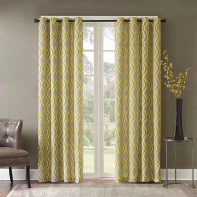 Madison Park Avery 63-Inch Grommet Top Window Curtain Panel in Yellow