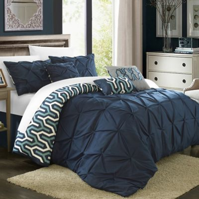 Chic Home Trina 7-Piece Reversible Queen Comforter Set in Navy