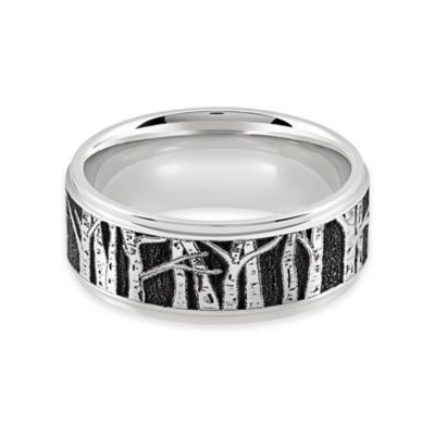 Lashbrook® Cobalt Chrome Grooved Edge Laser Aspen Tree Design Size 9.5 Men's Wedding Band