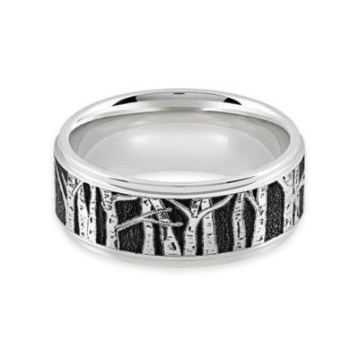 Lashbrook® Cobalt Chrome Grooved Edge Laser Aspen Tree Design Size 11 Men's Wedding Band