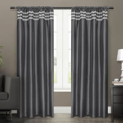 Bling 96-Inch Rod Pocket Window Curtain Panels in Black Pearl